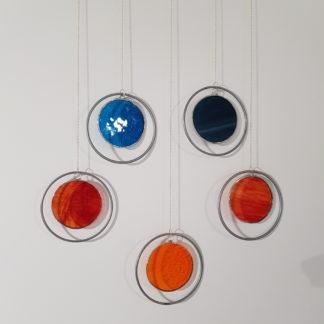5 décorations murales colorées en vitrail