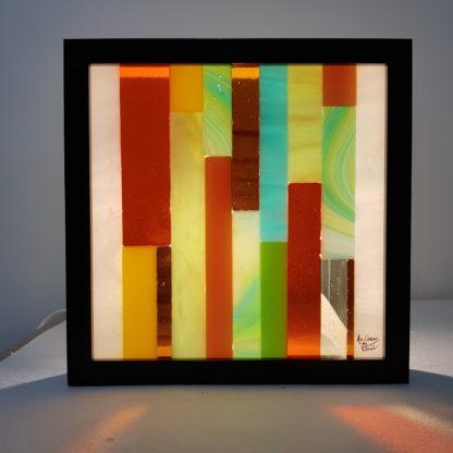 Cadre lumineux carré en vitrail