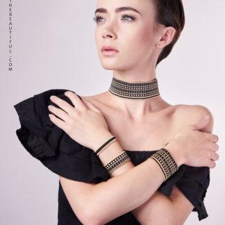 Bracelet manchette Noir et Or mat