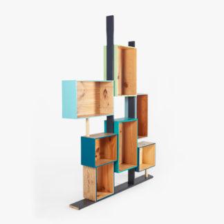 Étagère design bois recyclé bleu-vert