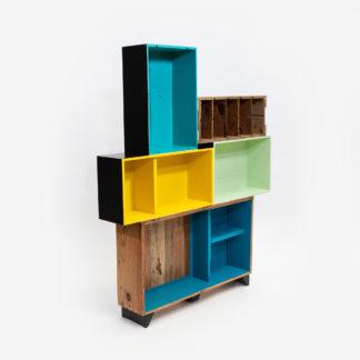 Étagère bibliothèque colorée bois rustique