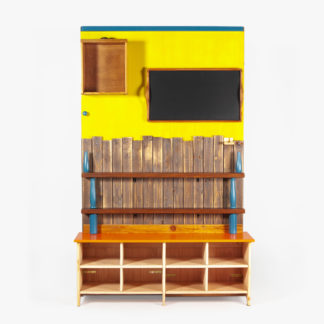 Étagère banc entrée bois recyclé coloré