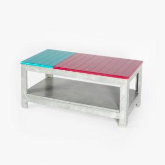 Table basse rangement intégré colorée